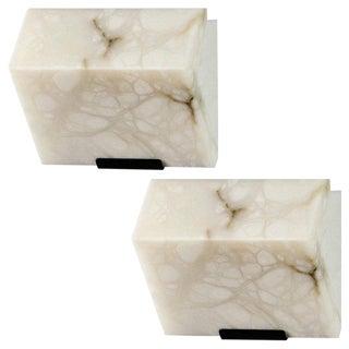 Pierre Chareau Edition Modern Single Block Model #185 Sconces - a Pair For Sale