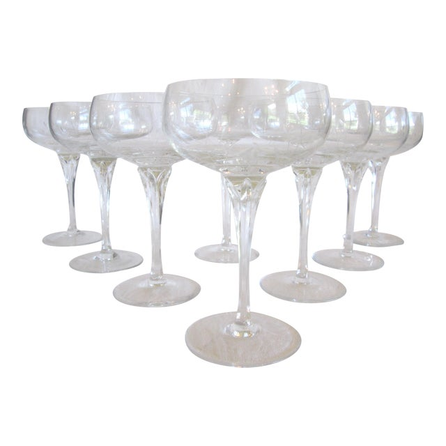 Gorham Jolie Etched Crystal Cocktail Coupes - S/8 For Sale