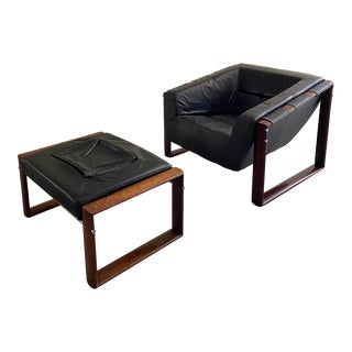 1970s Mid Century Modern Percival Lafer Rosewood Lounge Chair & Ottoman - 2 Pieces For Sale