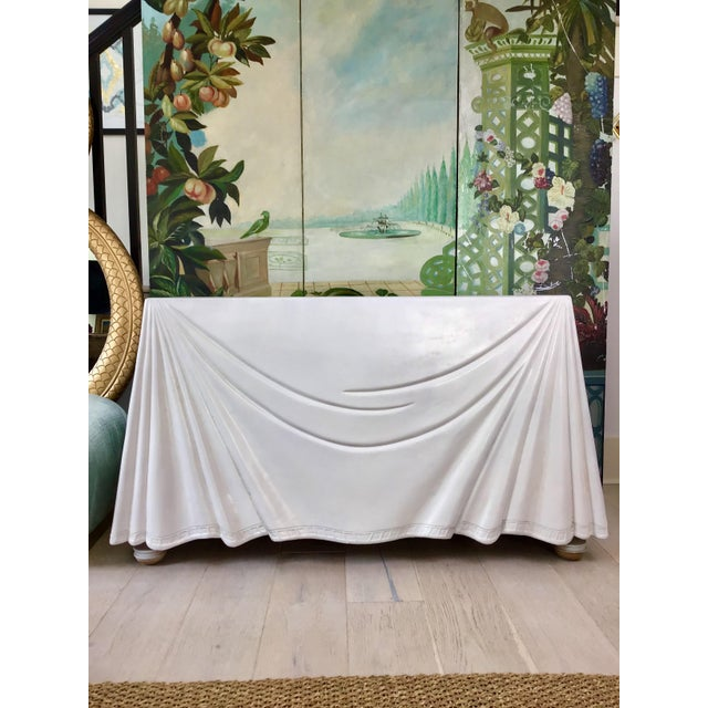 1980s 1980s Hollywood Regency Lacquered Parchment Trompe L'Oeil Drapery Console For Sale - Image 5 of 12