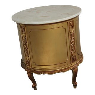 Louis XV Style Gold Giltwood Drum Cabinet