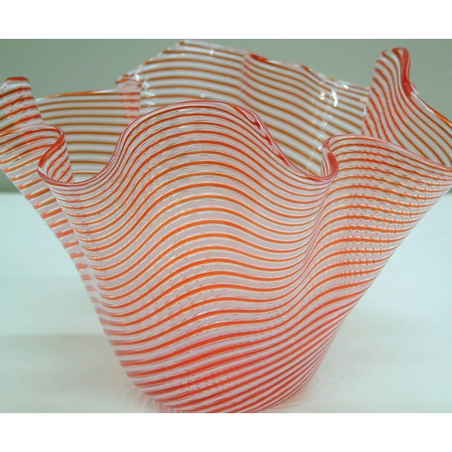 Blown Glass 1950s Fratelli Toso Fazzoletto Murano Vase For Sale - Image 7 of 8