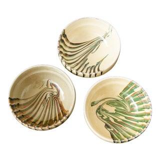 European Handglazed Bowls- Set of 3 For Sale