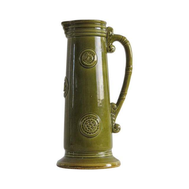 French Green Pitcher W/ Medallions - Image 1 of 6