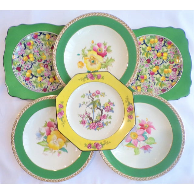 (Final Markdown) 930's Crown Ducal Ware Chintz Plates - Set of 6 For Sale - Image 11 of 13