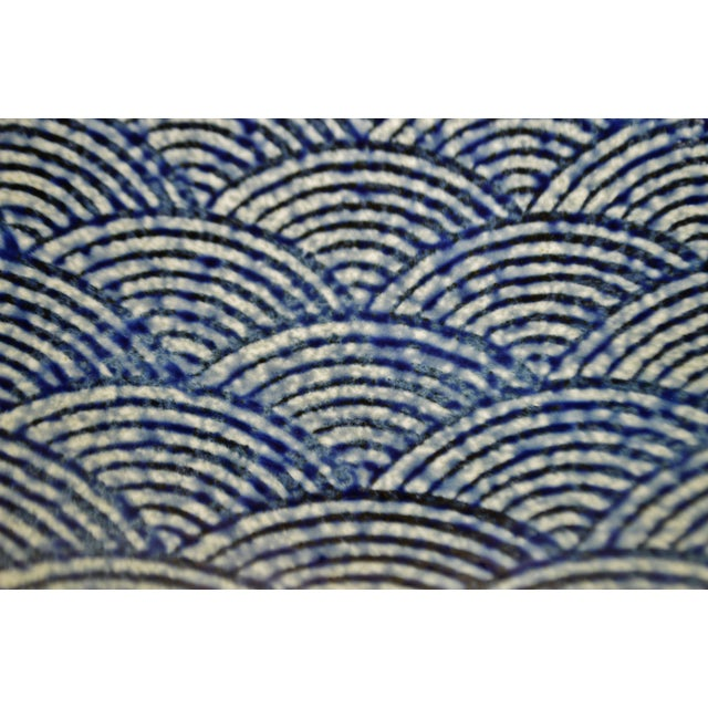 Vintage Japanese Blue Wave Pattern Ceramic Bowl - Image 4 of 11