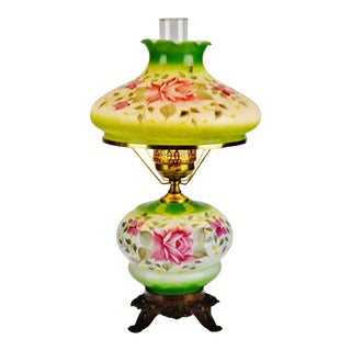 Vintage Hand Painted Floral Electrified Oil Table Parlor Lamp For Sale