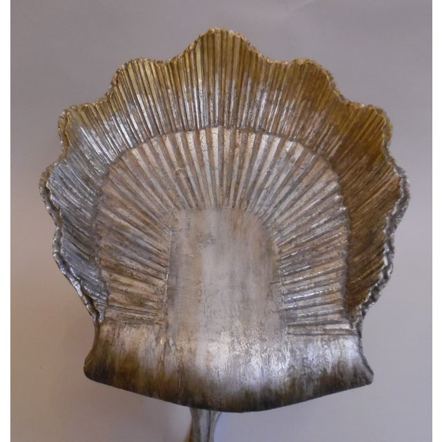 Gold Leaf 19th Century Italian Silver and Gold Gilt Cherrywood Grotto Seat For Sale - Image 7 of 13