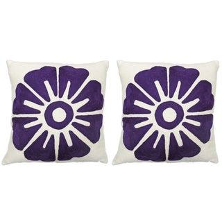 """Judy Ross Purple """"Big Rosette"""" 18x 18 Pillows - 2 For Sale"""