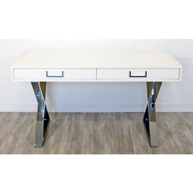 Campaign 1960s Milo Baughman Mid-Century Modern Campaign White Lacquer Chrome X Base Desk For Sale - Image 3 of 12