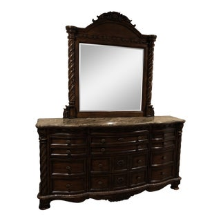 Traditional Morris & Co Dark Brown Vanity With Mirror and Many Drawers For Sale