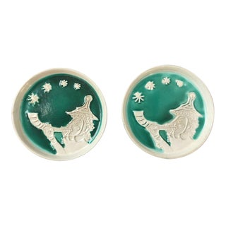 Bennington Potters Christmas Holiday Plates - A Pair For Sale