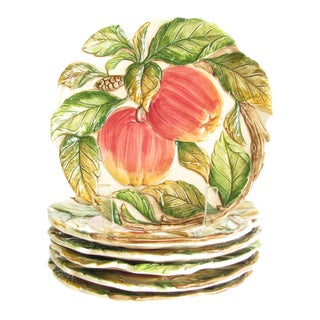 Vintage Takhashi San Francisco Majolica Ceramic Apple Plates - Set of 6 For Sale