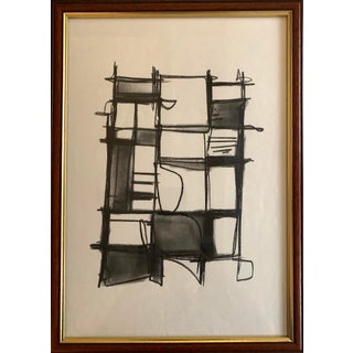 Original Abstract Charcoal Framed Drawing For Sale