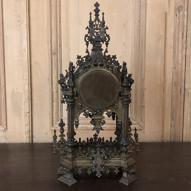Mantel Clock, 19th Century French Gothic in Bronze For Sale - Image 12 of 13