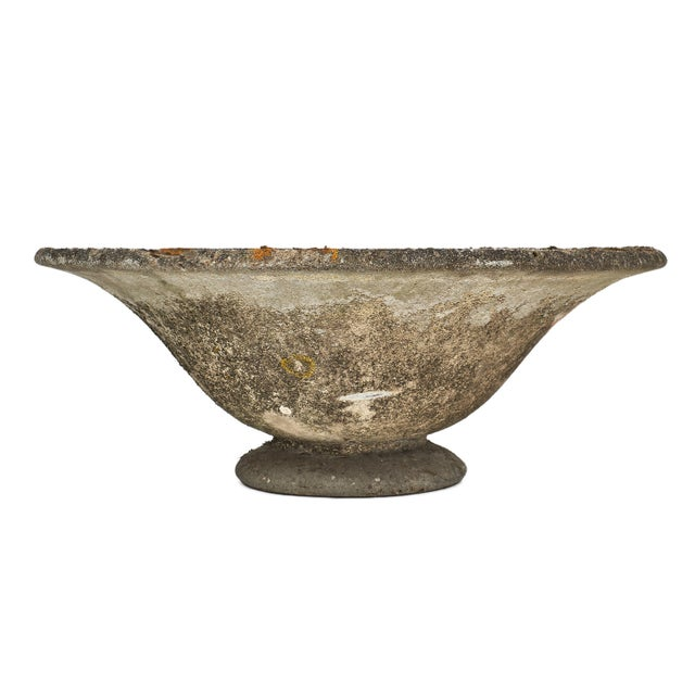Round vintage French cement jardiniere. It is intact and original from base to top lip; first free concrete form. We love...