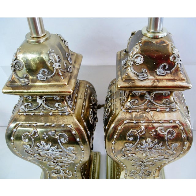 Late 20th Century Gold Ginger Jar Lamps, a Pair For Sale - Image 5 of 9