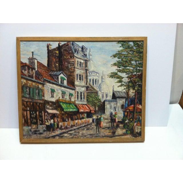 "Canvas Vintage Mid-Century ""Sidewalk Dining"" Original Canvas Painting For Sale - Image 7 of 7"
