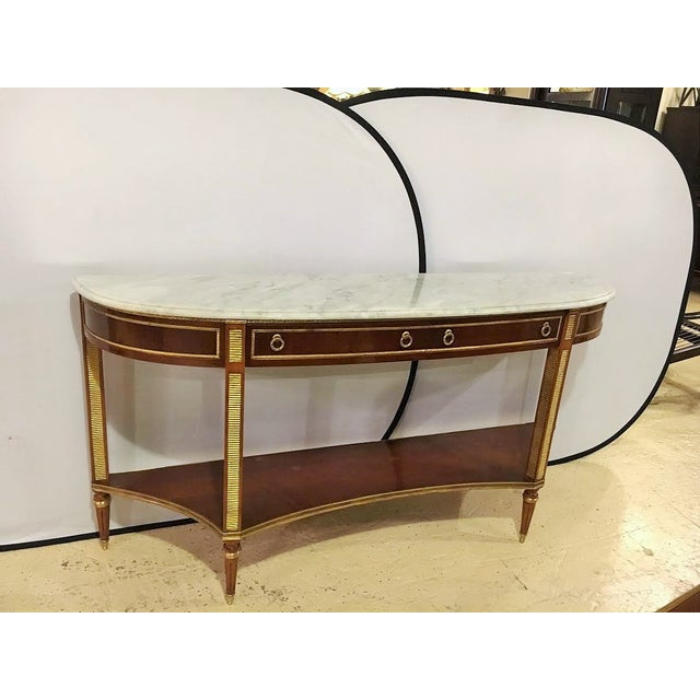 Marble Top Demi Lune Console Tables - Pair - Image 7 of 7