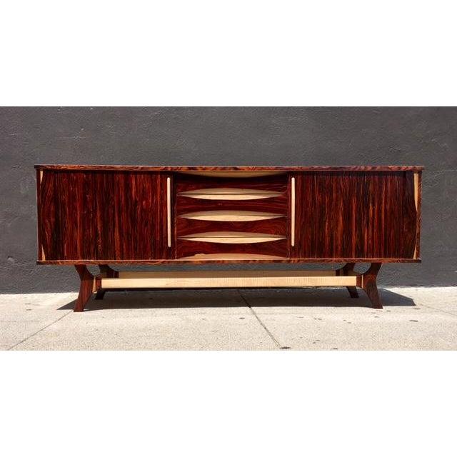 Mid-Century-Style Exotic Wood Credenza - Image 2 of 6