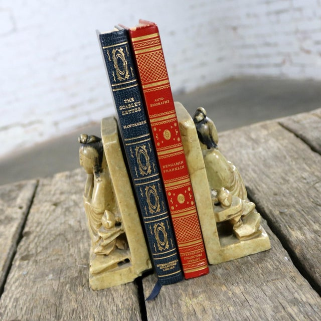 Early 20th Century Antique Carved Soapstone Bookends With Chinese Figures and Teapot Detail For Sale - Image 5 of 13