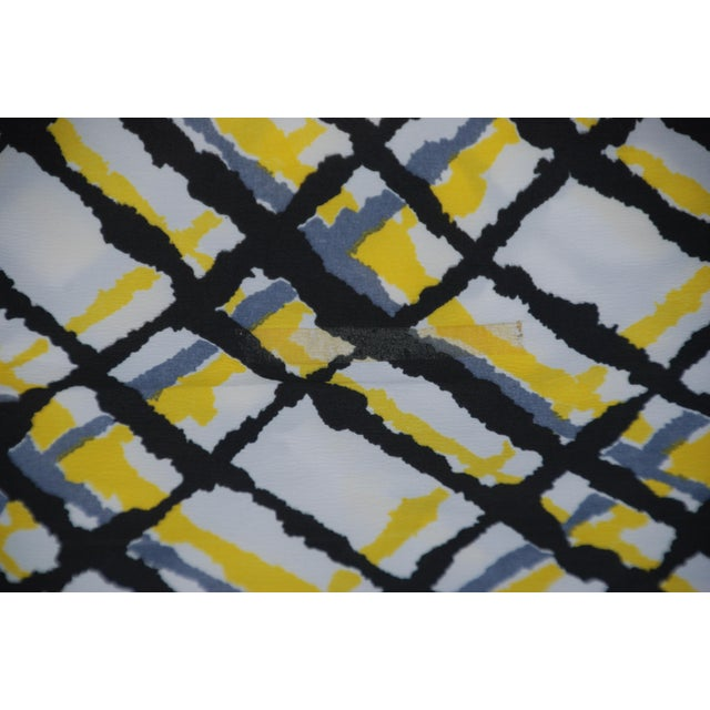Vintage 1971 Burlington Industry Yellow, Black, White & Gray Fabric ...