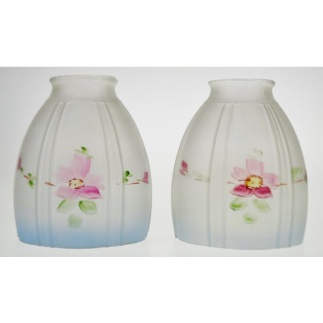 Glass Victorian Handpainted Frosted Glass Light Shades - a Pair For Sale - Image 7 of 12
