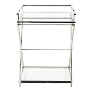 Mid Century Art Deco Glass Top Bar Cart For Sale