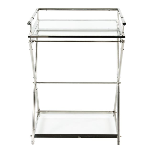Mid-Century Glass Top Bar Cart For Sale
