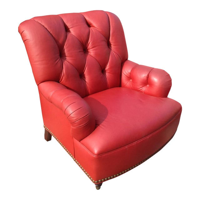 21st Century Traditional Red Leather Chair For Sale