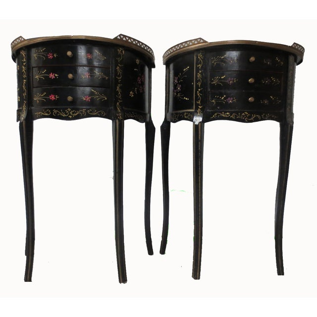 Mid-Century Black Demilune Side Tables - A Pair - Image 2 of 8