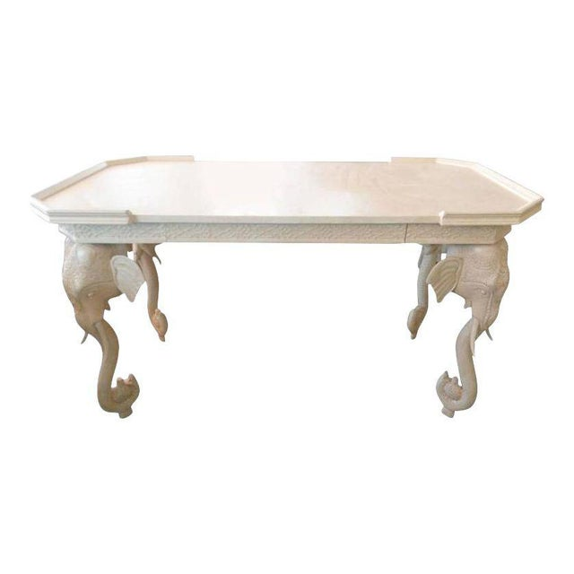 Gampel-Stoll Vintage Gampel and Stoll White Lacquered Elephant Desk For Sale - Image 4 of 4