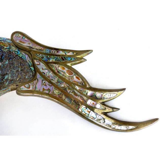 Gold Los Castillo Mexican Mid-Century Modern Mixed Metal and Abalone Parrot Tray For Sale - Image 8 of 13