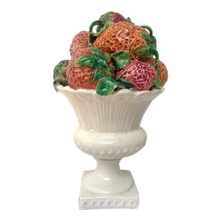 Vintage Italian Majolica Strawberry Fruits Urn Centerpiece Palm Beach Style For Sale