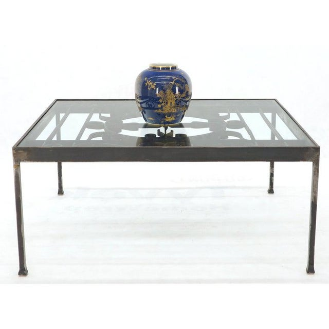 Early 21st Century Massive Wide Rectangle Glass Top Wrought Iron Coffee Center Table For Sale - Image 5 of 11