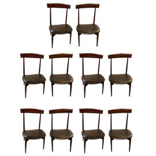 Mid-Century Modern Slat Back Black Leather Dining Chairs - Set of 10