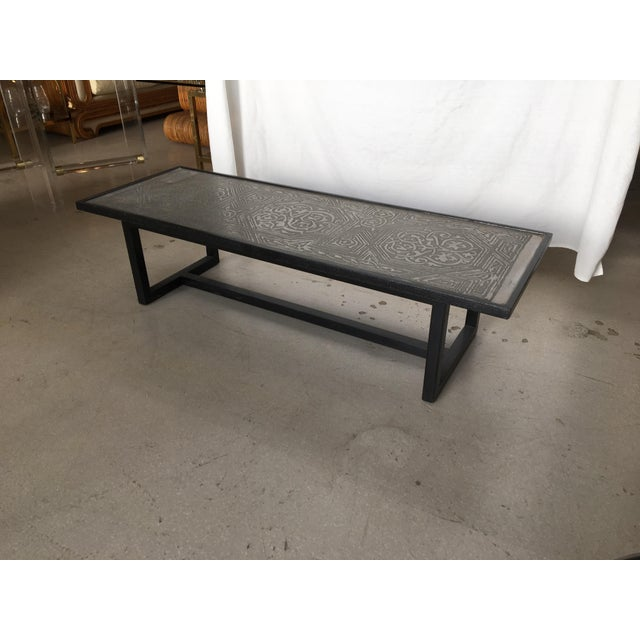 Silver Contemporary Coffee Table With Etched Metal Inlay and Ebonized Wood Frame For Sale - Image 8 of 12
