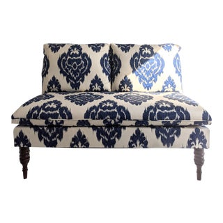 Blue and White Ikat Settee For Sale