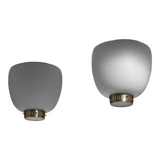 Bent Karlby Pair of Opaline Glass and Brass Flush Mounts, Denmark For Sale