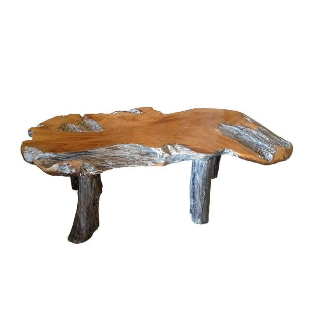 Coffee Table Teak Live Edge: Rustic Natural Edge Teak Slab Coffee Table