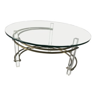 Mid-Century Modern Lucite & Brass Coffee Table For Sale