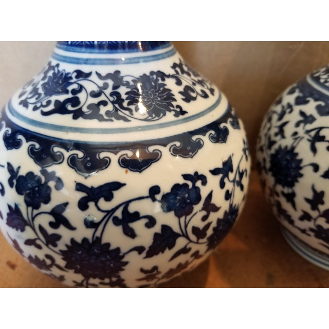 Vintage Asian Blue Vases - a Pair For Sale - Image 4 of 6