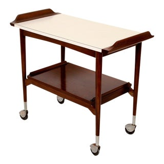 Mid-Century Modern Walnut Bar Cart Rolling Tea Cart For Sale
