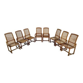 Drexel Heritage Walnut/Caned Dining Chairs - Set of 8 For Sale