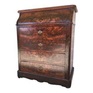 Antique Flame Mahogany Marble Tilt Top 4 Drawer Washstand For Sale