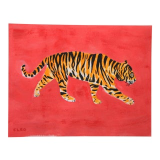 Tiger Chinoiserie Painting by Cleo Plowden For Sale
