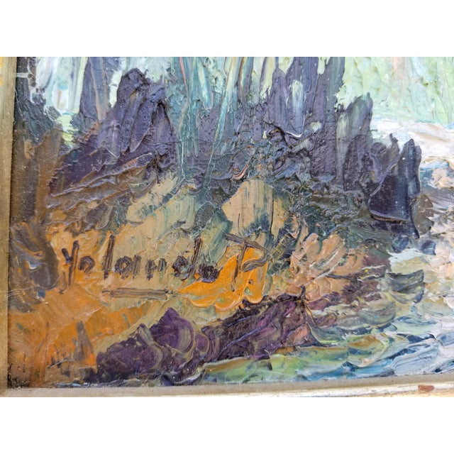 Vintage Impasto Landscape Abstract Painting by Yolanda P. For Sale In Miami - Image 6 of 12
