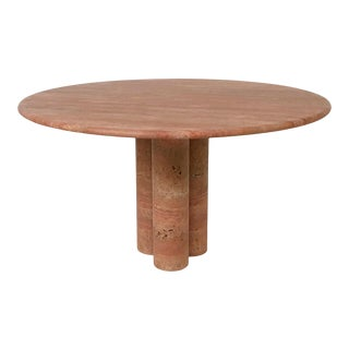 Red Travertine Dining Table by Mario Bellini For Sale