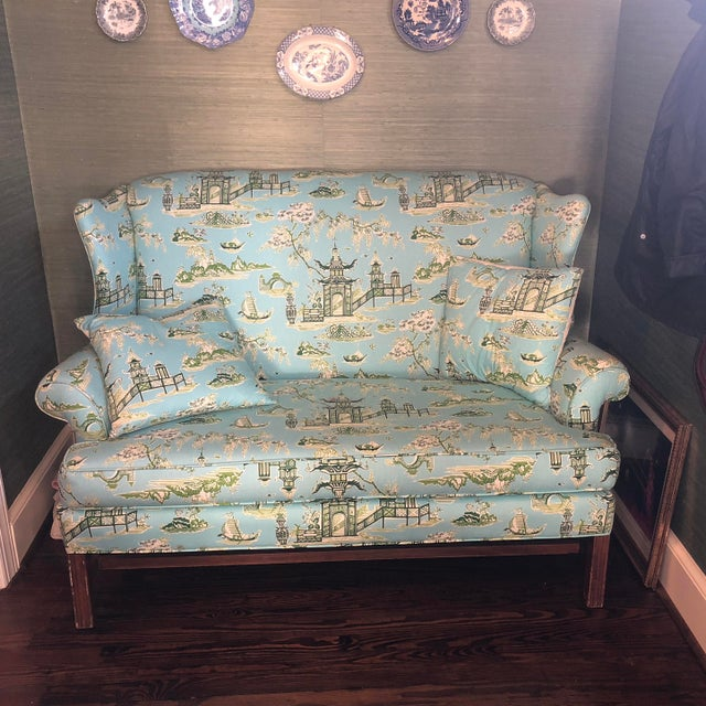 Asian Schumacher Inspired Nanjing Loveseat & Matching Pillows For Sale - Image 3 of 4
