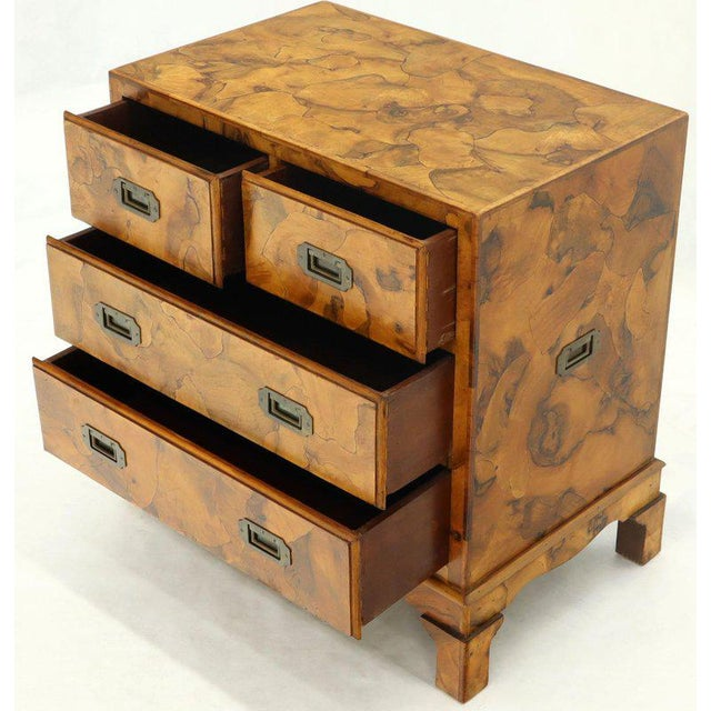 Brown Campaign Style Patch Burl Olive Wood Small Bachelor Chest Dresser Cabinet For Sale - Image 8 of 13